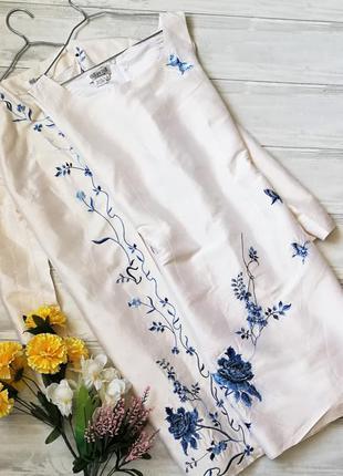 Шелковый костюм с вышивкой 121119 due per due платье + плащ 100% шелк размер uk12 (m/l)