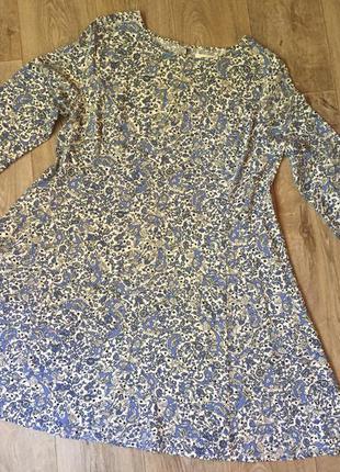 Стильное платье с узорами (белое, синее, цветы) от old navy(p.m-l)