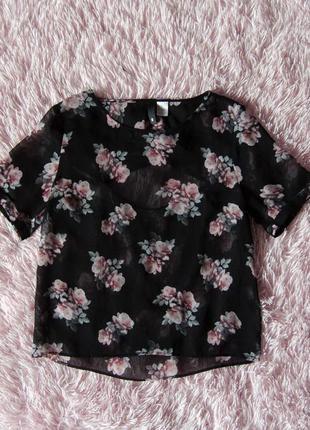Черная прозрачная футболка с цветочным узором h&m
