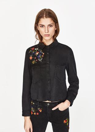 Укороченая рубашка с вышивкой, можно оверсайз на s, m