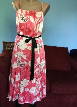 Платье шелковое oasis с принтом
