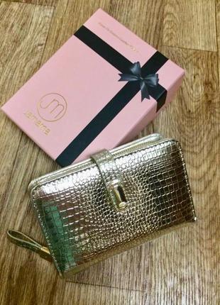 Женский золотой кошелёк из натуральной лаковой кожи