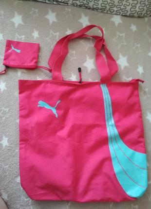 Отличная сумка шоппер с кошельком от puma