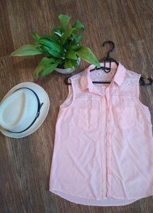 Летняя блуза персикового цвета1 фото
