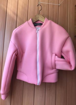 Очень крутая мягкая розовая ветровка бомбер куртка кофта