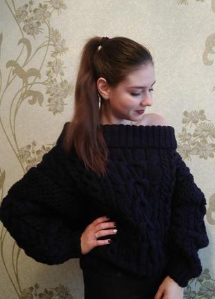 Вязаный женский объёмный свитер джемпер рубан ruban со спущенными плечами ручная работа