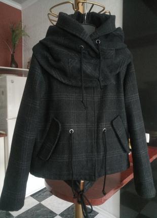 Пальто куртка оверсайз драповая в клетку