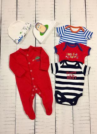 Комплект боди+человечек+шапочки новорождённому малышу