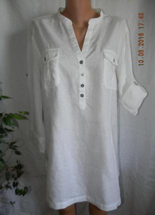 Белая блуза-туника лен debenhams