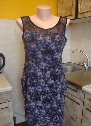 Платье черно-синее кружевное naf naf размер 40 s 100%котон
