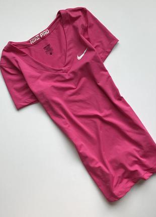 Cпортивная женская компрессионная футболка ,термо nike pro original розового цвета