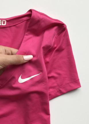 Cпортивная женская компрессионная футболка ,термо nike pro original розового цвета2 фото