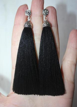 Серьги серёжки кисти кисточки пышные чёрные нарядные с розочкой большой выбор!