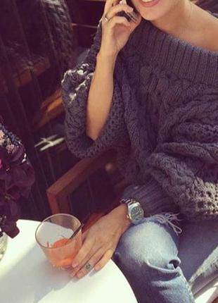 Вязаный женский объёмный свитер джемпер рубан ruban спущенные плечи ручная работа