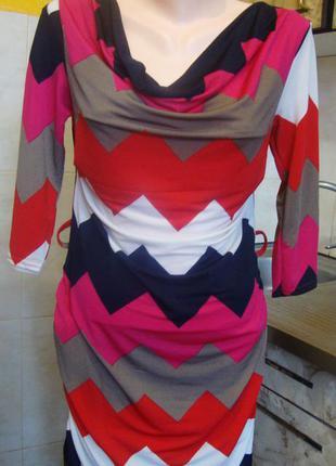 Платье розово-сине-белое tu размер s/м 12 франция 95%полиэстер, 5%эластан