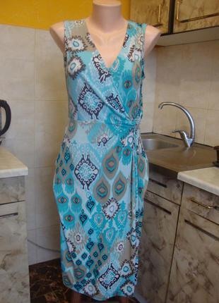 Платье голубо-бежево biaggini размер м 93%полиэстер, 7%эластан