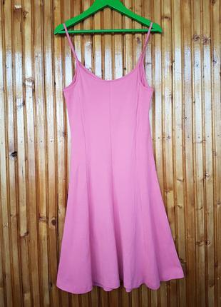 Пудрово-розовый сарафан- майка на тонких бретельках от pink woman. 100% хлопок