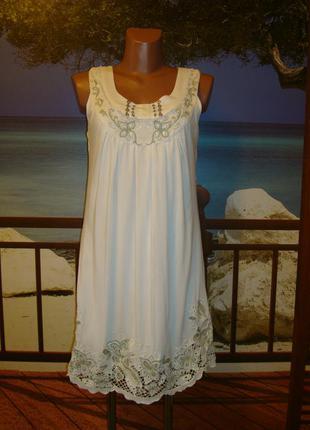 Платье с вышивкой, вискоза\хлопок р8-10