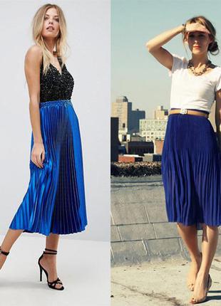 Мега стильная и актуальная ярко-голубая миди юбка....+другие цвета