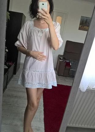 Пудровая нюдовая блуза/туника/платье/с рюшами/h&m/хлопок/m l
