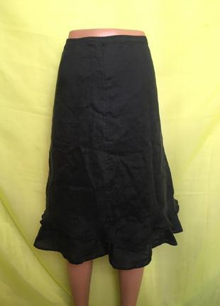 Черная короткая юбка лён h&m с воланами 12/40 р