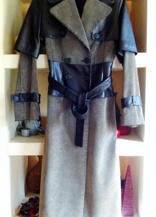 Пальто со съемным кожаным болеро eva level