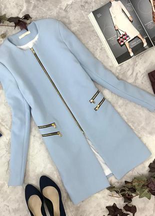 Элегантный тренч из костюмной ткани, небесно голубого цвета  jc1823193
