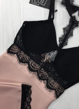 Сексуальное облегающее бандажное платье по фигуре herve leger розовое с черным кружевом