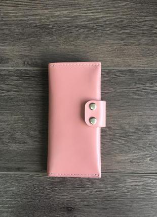 Кожаный кошелёк розовый тревел-кейс женский
