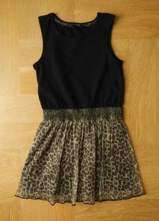 7-8 лет george как новое леопардовое с люрексом платье хлопок.