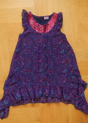 6-7 лет f&f новое шифоновое нарядное платье туника.