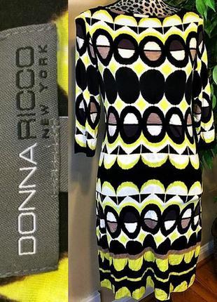 """Платье """"shift"""" в модный принт *donna ricco*вырез """"лодочка"""" рукава 3/4 размер l"""