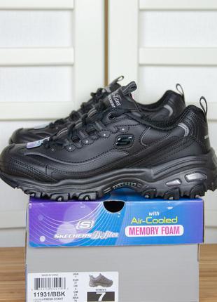 Skechers d'lites - fresh start черные кроссовки из кожи (35\36\37\38,5\40)