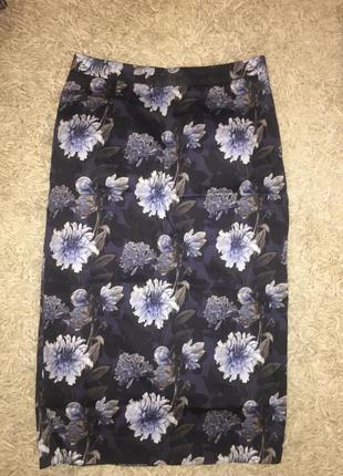 Длинная юбка карандаш с цветами mohito