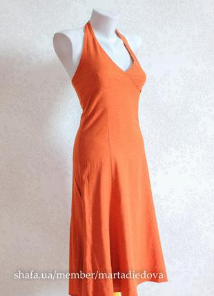 Летнее платье с открытыми плечами, натуральный лён и район