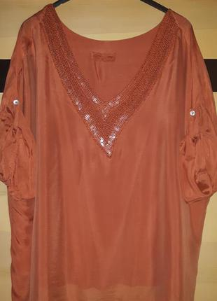 Шикарная шелковая блуза туника , италия