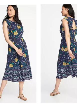 Летнее платье в цветы сукня в квіти old navy р. s tall на высокий рост  цветочный принт