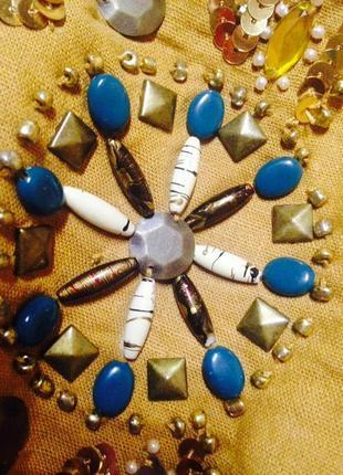 Сумочка лен кросс-боди, мешок hand-made с камнями, клепками, вышивкой