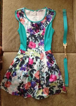 Платье amn madness national бирюзовое с цветочным принтом