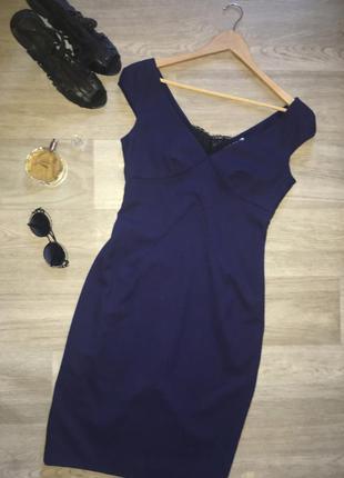 Идеальное платье футляр / синее офисное платье