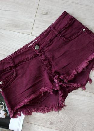 Шорты джинсовые марсала бордовые бахрома внизу рваные с 8