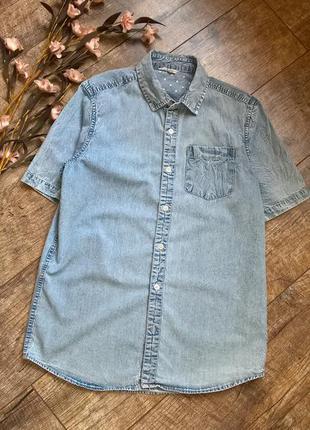Джинсовая лёгкая рубашка с коротким рукавом/варёнка/голубая/s-m