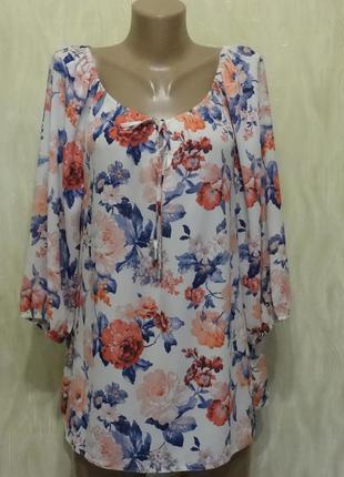Блуза в принт цветы george, р.16-18
