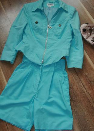 Крутой льняной костюм шорты пиджак