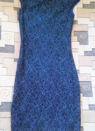 Синее блестящее платье lipsy london размер xs