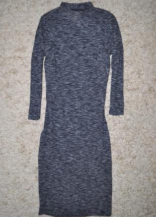 Трендовое платье под горло в рубчик серый меланж от atmosphere