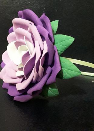 Ободок обруч с большым цветком роза ручная работа