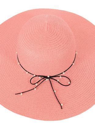 Широкополая женская шляпа с бусинами 56-58