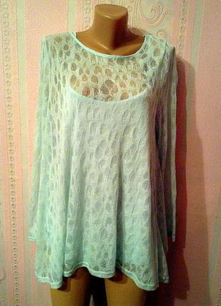Мятная блуза с майкой phase eight xl-xxl