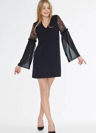Черное платье с шифоновым рукавом от nenka